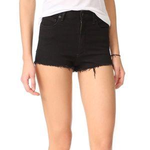 free people black denim cut off shorts 24